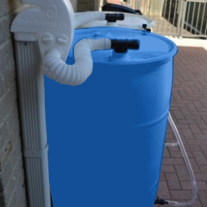 Blue Rain Barrel - 220 litres / 55 Gallons Sealed Top with Diverter